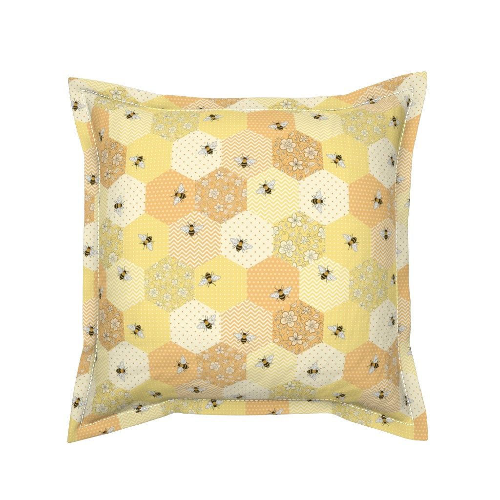 Serama Throw Pillow featuring Patchwork Bees by hazelfishercreations