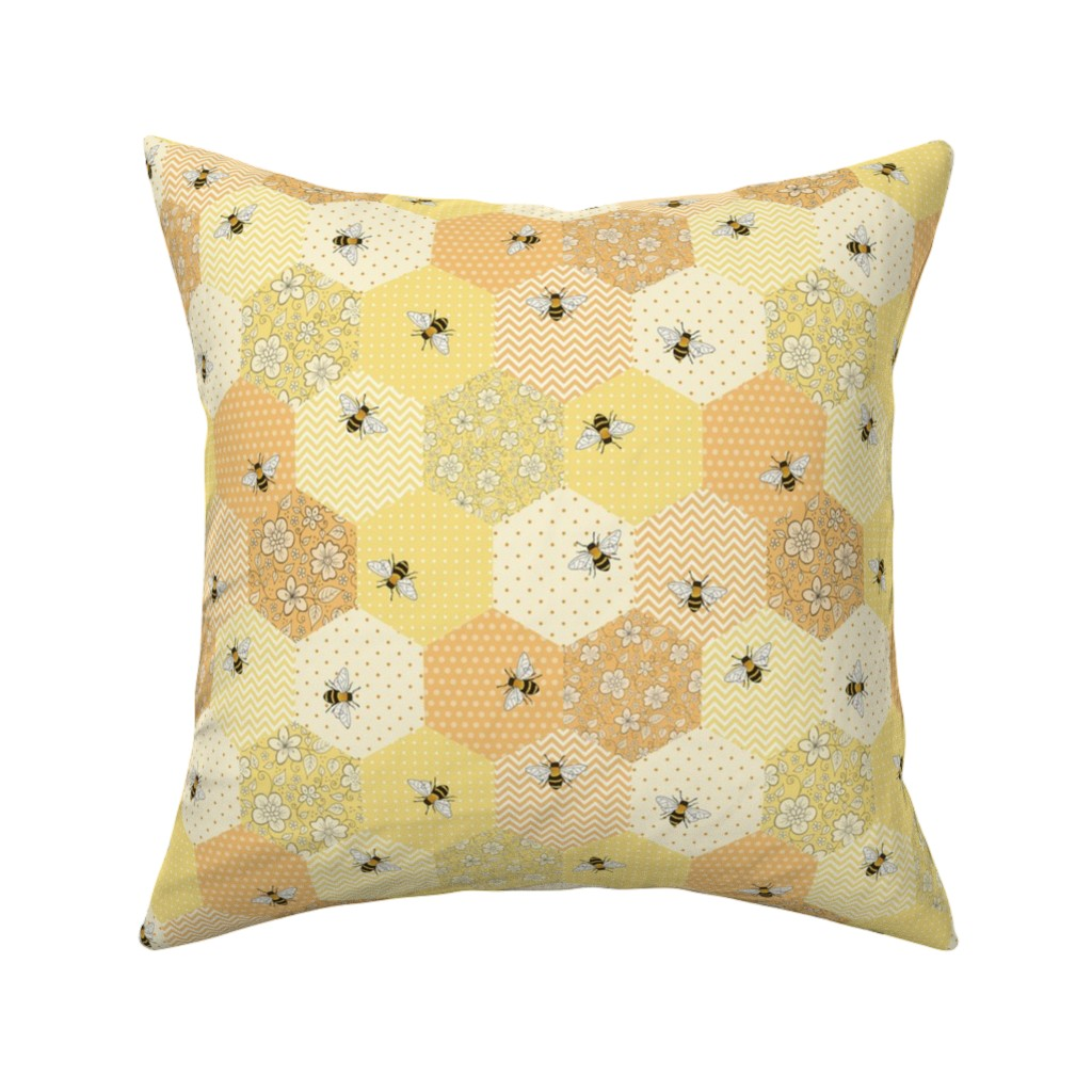 Catalan Throw Pillow featuring Patchwork Bees by hazelfishercreations