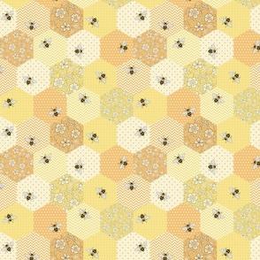 Patchwork Bees lemon, apricot and buttermilk - medium scale