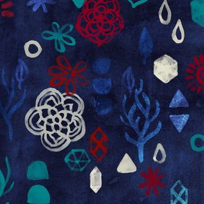 Elements - a watercolor pattern in red, cream & navy blue