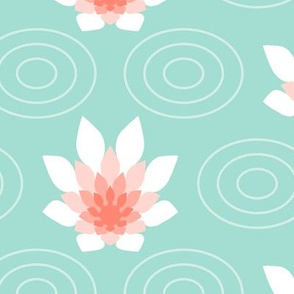 04176969 : flame flower ripple : coral + mint