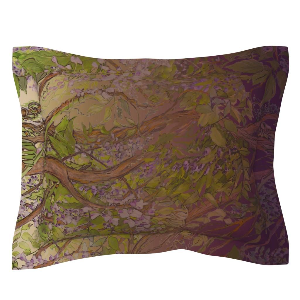 Sebright Pillow Sham featuring Wisteria Warbler Border Print by wren_leyland
