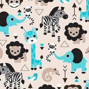 Geometric jungle zoo safari animals adorable kids design for boys black white blue and beige