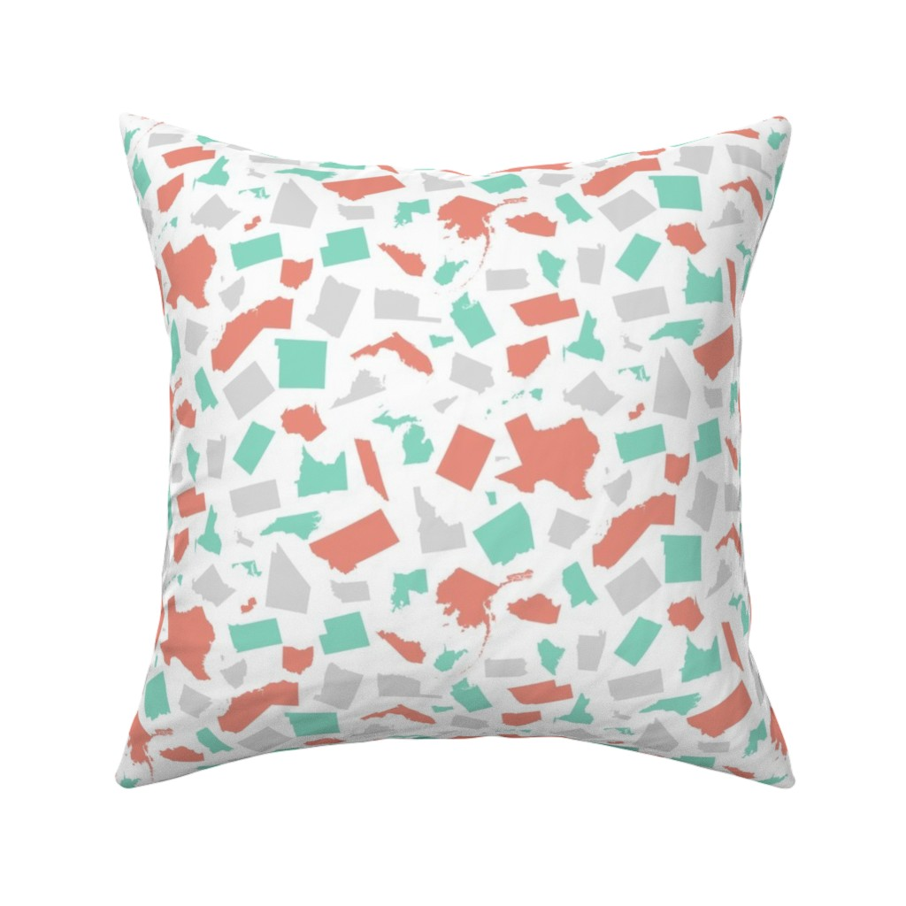 Catalan Throw Pillow featuring United States (Coral, mint, gray) by robyriker