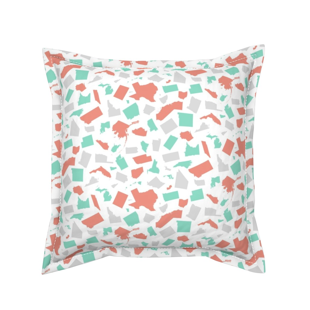 Serama Throw Pillow featuring United States (Coral, mint, gray) by robyriker