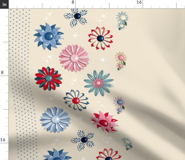 Fabric by the Yard Jackie Border Print (Neutral/Red/Blue) || flower floral  garden vintage 60s 70s enamel brooch pin vector illustration skirt star