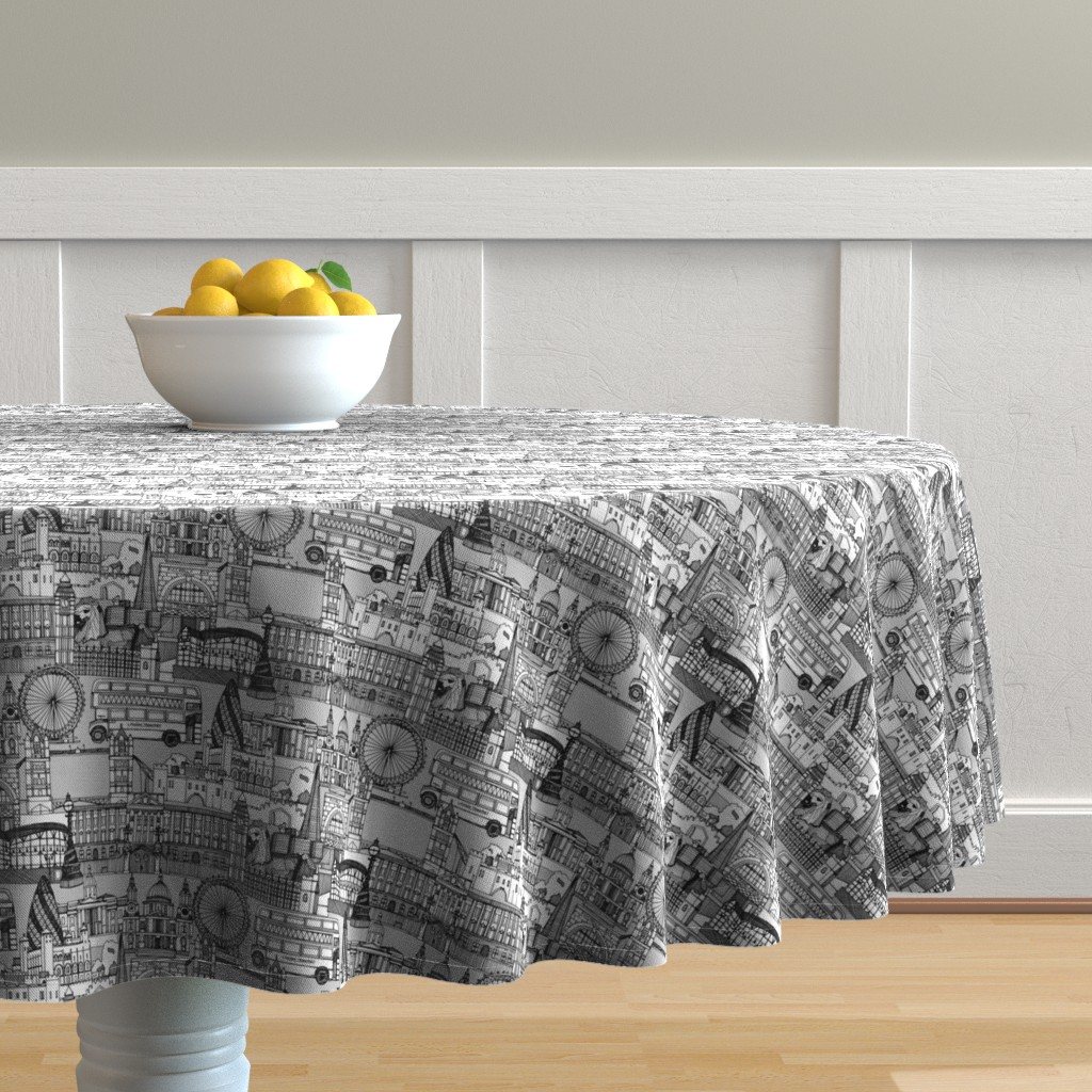 Malay Round Tablecloth featuring london toile black white by scrummy