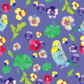 Parakeet and Pansy in lavendar
