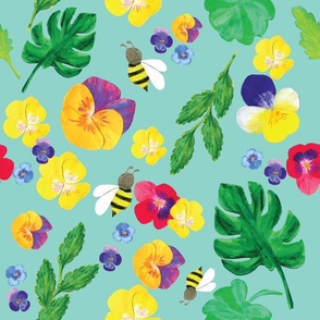 Floral Pansy and bee in aqua