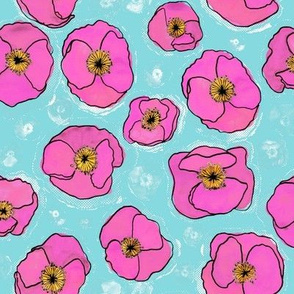 Spring anemones - blue and pink