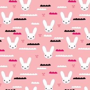 Cute pink sky love bunny in white illustration girls fabric for kids