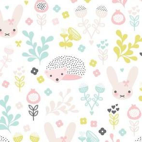 Adorable spring blossom flower garden easter bunny and hedgehog illustration print for little girls