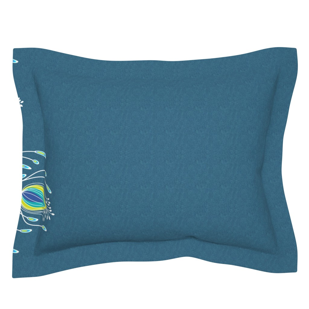 Sebright Pillow Sham featuring A peacock garden on blue linen by vo_aka_virginiao