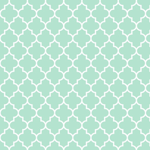quatrefoil MED mint green