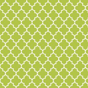 quatrefoil MED lime green