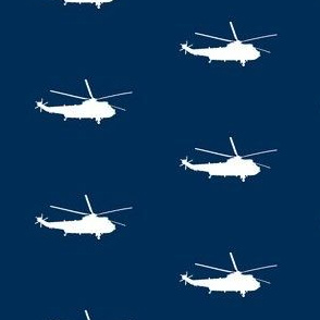 Helicopter: white on blue