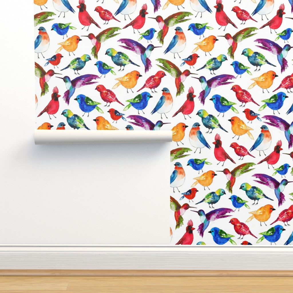 Isobar Durable Wallpaper featuring Watercolor Birds by sara_berrenson