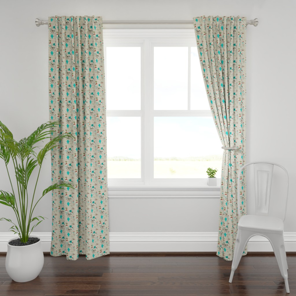 Plymouth Curtain Panel featuring Atomic barkcloth boomerang by gesenared