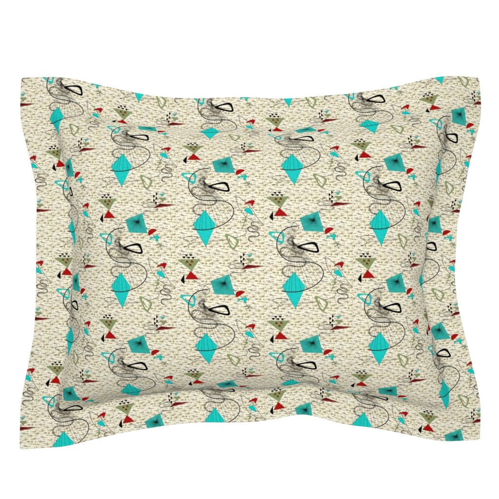 Sebright Pillow Sham featuring Atomic barkcloth boomerang by gesenared