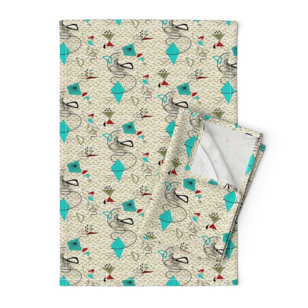 Orpington Tea Towels featuring Atomic barkcloth boomerang by gesenared