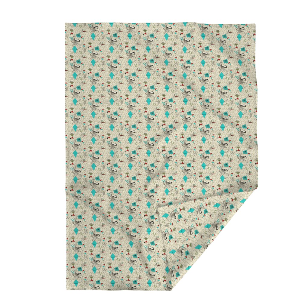 Lakenvelder Throw Blanket featuring Atomic barkcloth boomerang by gesenared