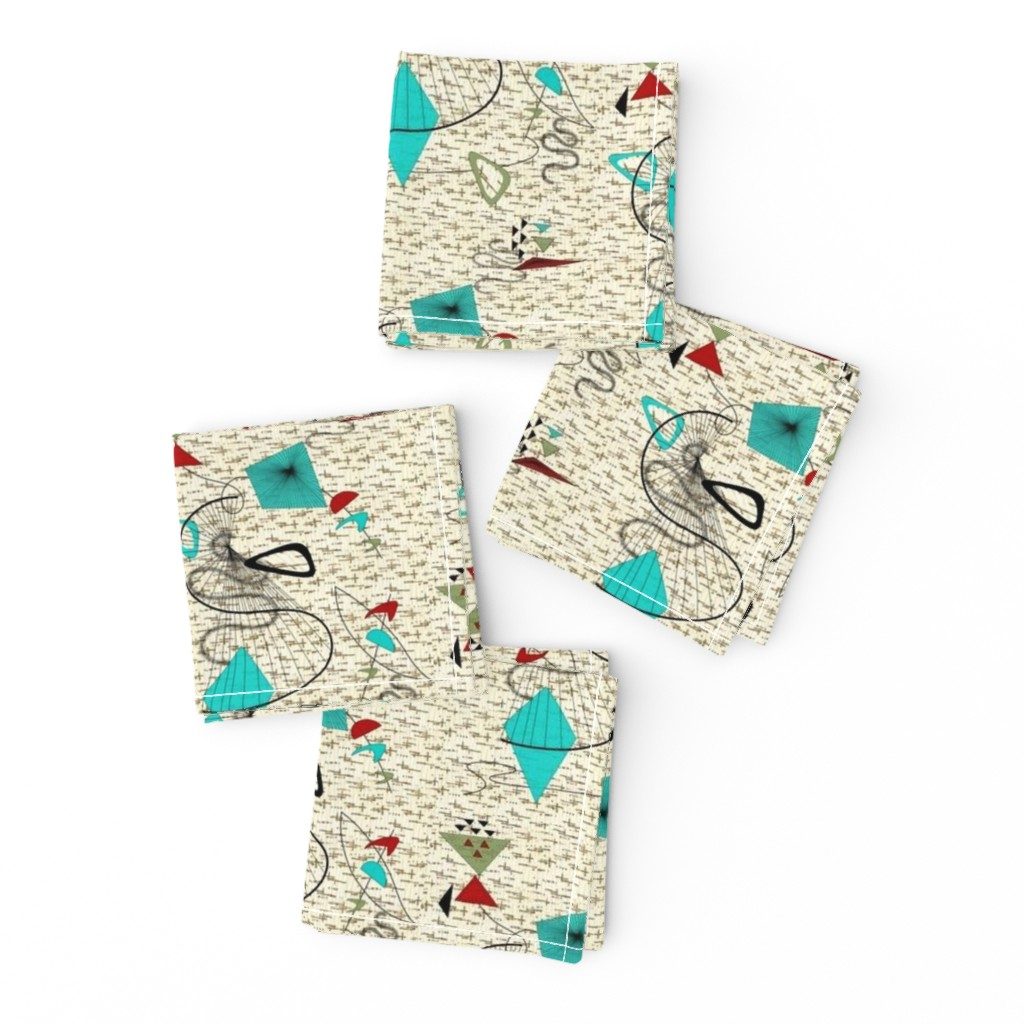 Frizzle Cocktail Napkins featuring Atomic barkcloth boomerang by gesenared