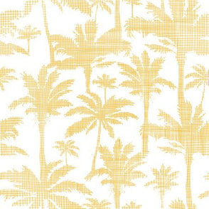 Palm trees golden textile seamless pattern