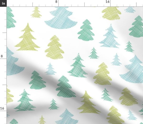 Christmas Trees Silhouette.Fabric By The Yard Green Blue Christmas Trees Silhouettes Textile Seamless Pattern
