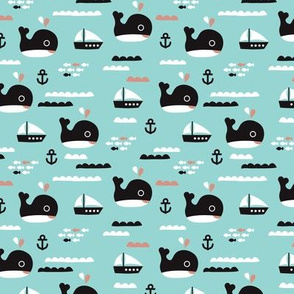Cute blue ocean whale and deep sea sailing boat and anchor fish theme illustration print XS