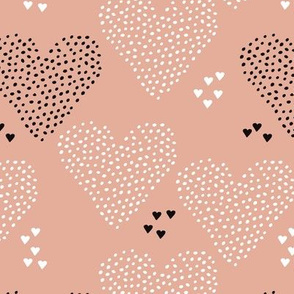 I love you sweet scandinavian style graphic hearts illustration print in gender neutral beige