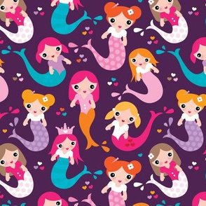 Violet little mermaid girls