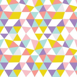 Pastel modern geometric triangle pattern in pink mint violet and mustard