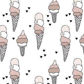 Hot summer beige gender neutral ice cream cone popsicle summer design print for kids
