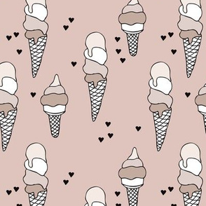 Hot summer beige gender neutral ice cream cone popsicle summer design print for kids