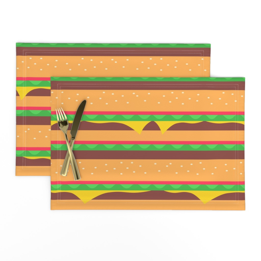 Lamona Cloth Placemats featuring Burgertopia by earlfoolish