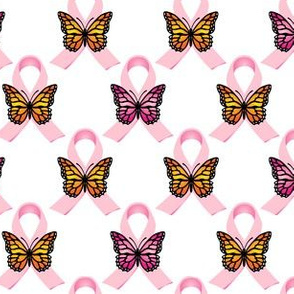 Pink Ribbons Orange & Pink Butterflies