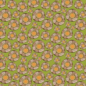 retro circle patterns - olive
