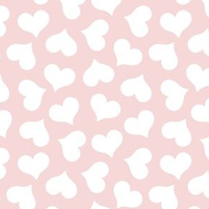 white hearts on baby pink