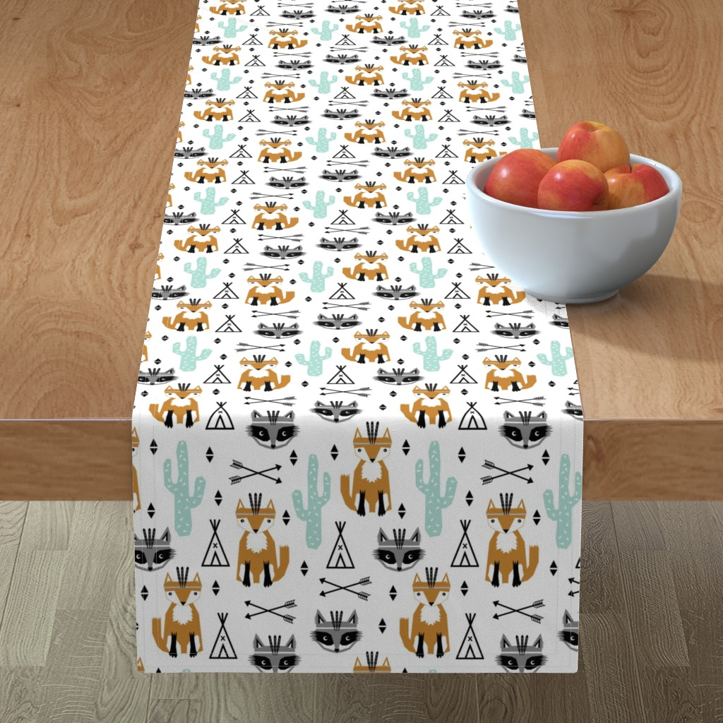 Minorca Table Runner featuring southwest baby black and white minimal trendy baby design featuring cactus raccoon teepee arrows tri fox  by charlottewinter