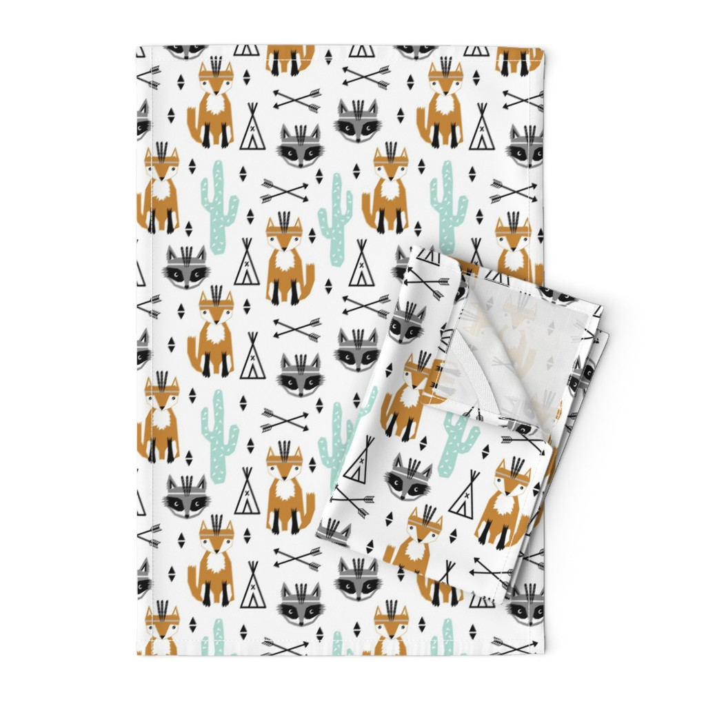 Orpington Tea Towels featuring southwest baby black and white minimal trendy baby design featuring cactus raccoon teepee arrows tri fox  by charlottewinter
