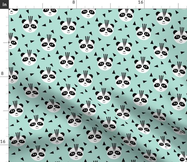 Colorful fabrics digitally printed by Spoonflower - panda with feather  southwest aztec tri design with mint for baby and kids clothes leggings  hipster
