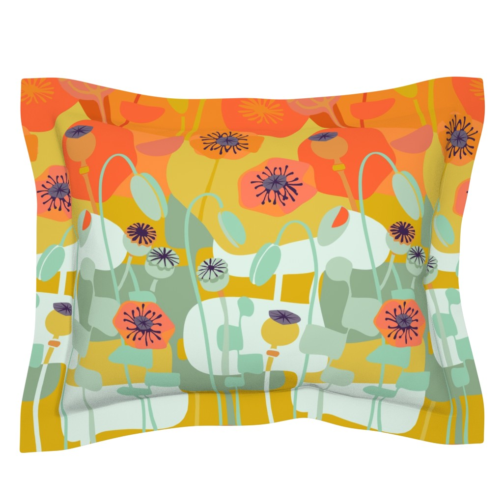 Sebright Pillow Sham featuring Poppies-Continuous Orange by wren_leyland
