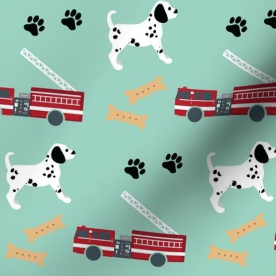 Fire Trucks And Dalmatian Puppies Spoonflower