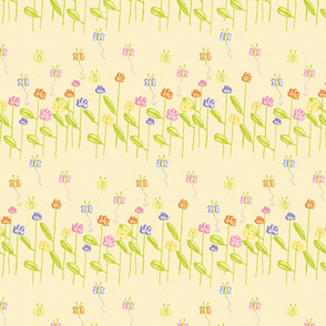 Fluttering Among the Flowers - Yellow