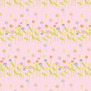 Fluttering Among the Flowers - Pink