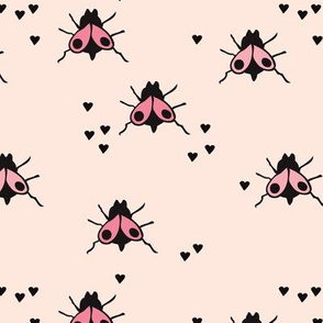 Funny summer creatures cute little bugs and insects illustration pink fly pattern print