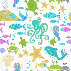 whale, turtle, octopus, crab, starfish, fish, ocean, sea, water, beach, diving, snorkle