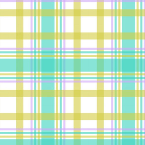 Pea Green Orchid Teal Plaid