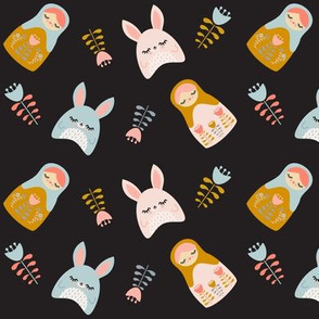 Bunnies & Nesting Dolls Black