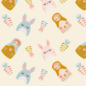 Bunnies & Nesting Dolls Cream